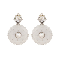 Gold India White Quartz and Pearl Earrings By Silvia Furmanovich For Broken English Jewlery