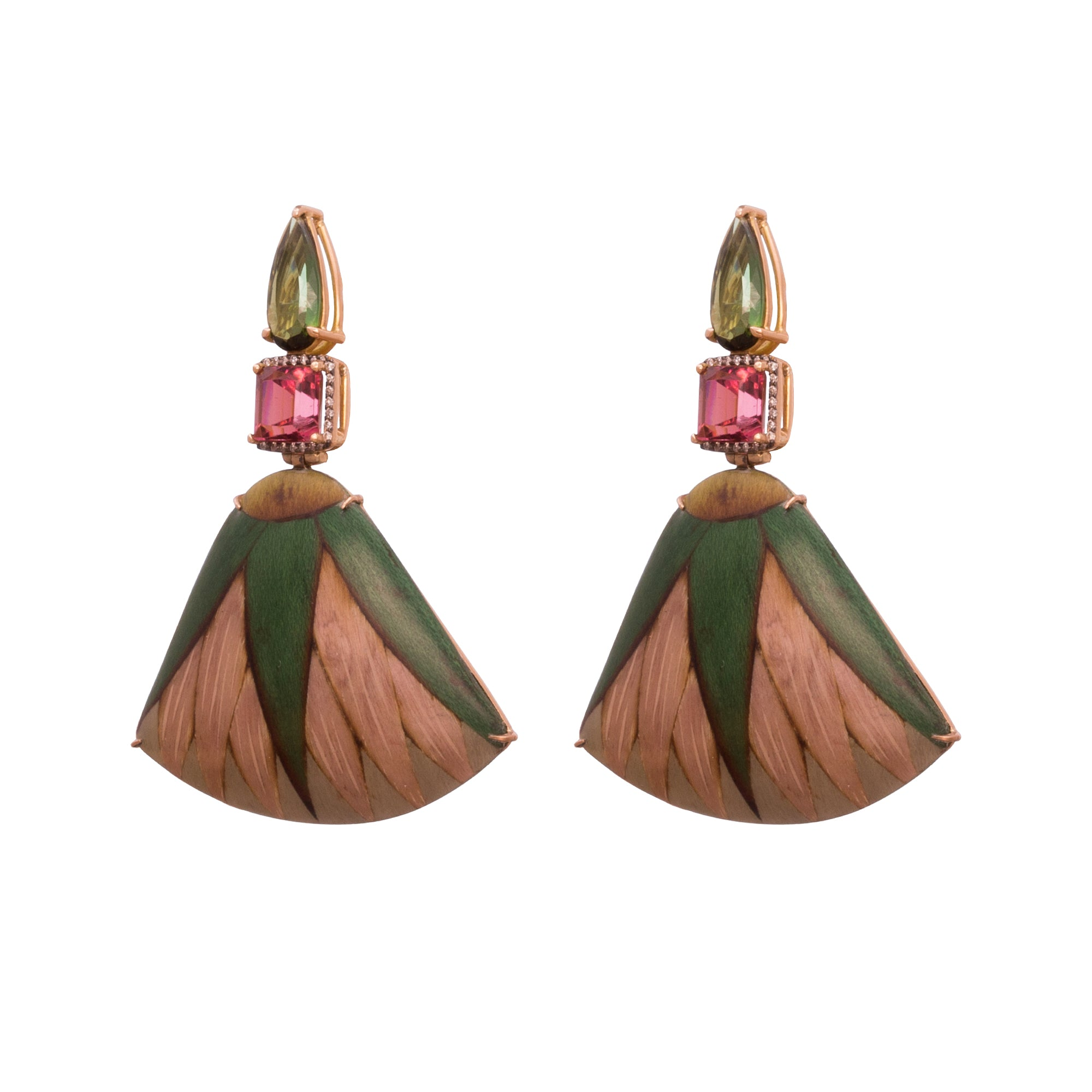 Tourmaline Wood Gold Marquetry Green and Pink Fan Earrings By Silvia Furmanovich For Broken English Jewlery