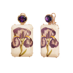 Amethyst Sapphire Wood Gold Marquetry Flower Earrings By Silvia Furmanovich For Broken English Jewlery