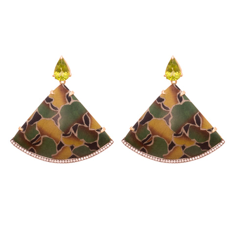 Wood Gold Peridot Diamond Marquetry Earrings By Silvia Furmanovich For Broken English Jewlery