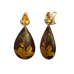 Diamond Citrine Wood Gold Marquetry Butterfly & Tree Earrings By Silvia Furmanovich for Broke English for Broken English Jewlery