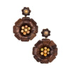 Marquetry Brown Flower Earrings - Silvia Furmanovich - Earrings | Broken English Jewelry