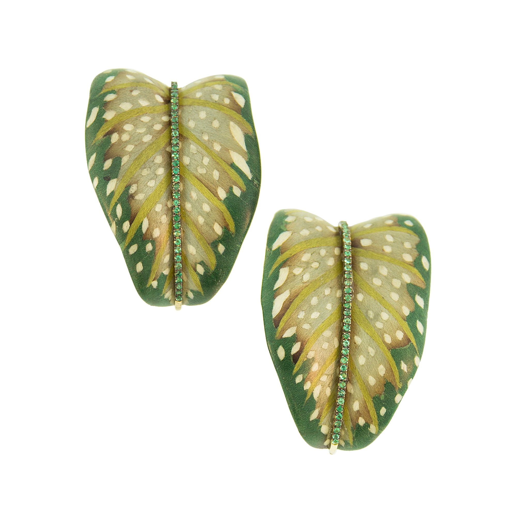 Marquetry Green Leaf Earrings - Silvia Furmanovich - Earrings | Broken English Jewelry