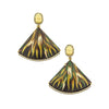 Marquetry Green Leaves Fan Earrings - Silvia Furmanovich - Earrings | Broken English Jewelry