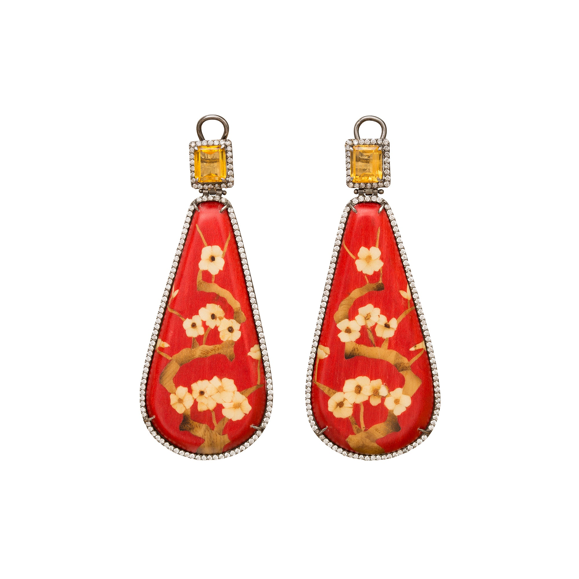 Marquetry Red Floral Earrings - Silvia Furmanovich - Earrings | Broken English Jewelry