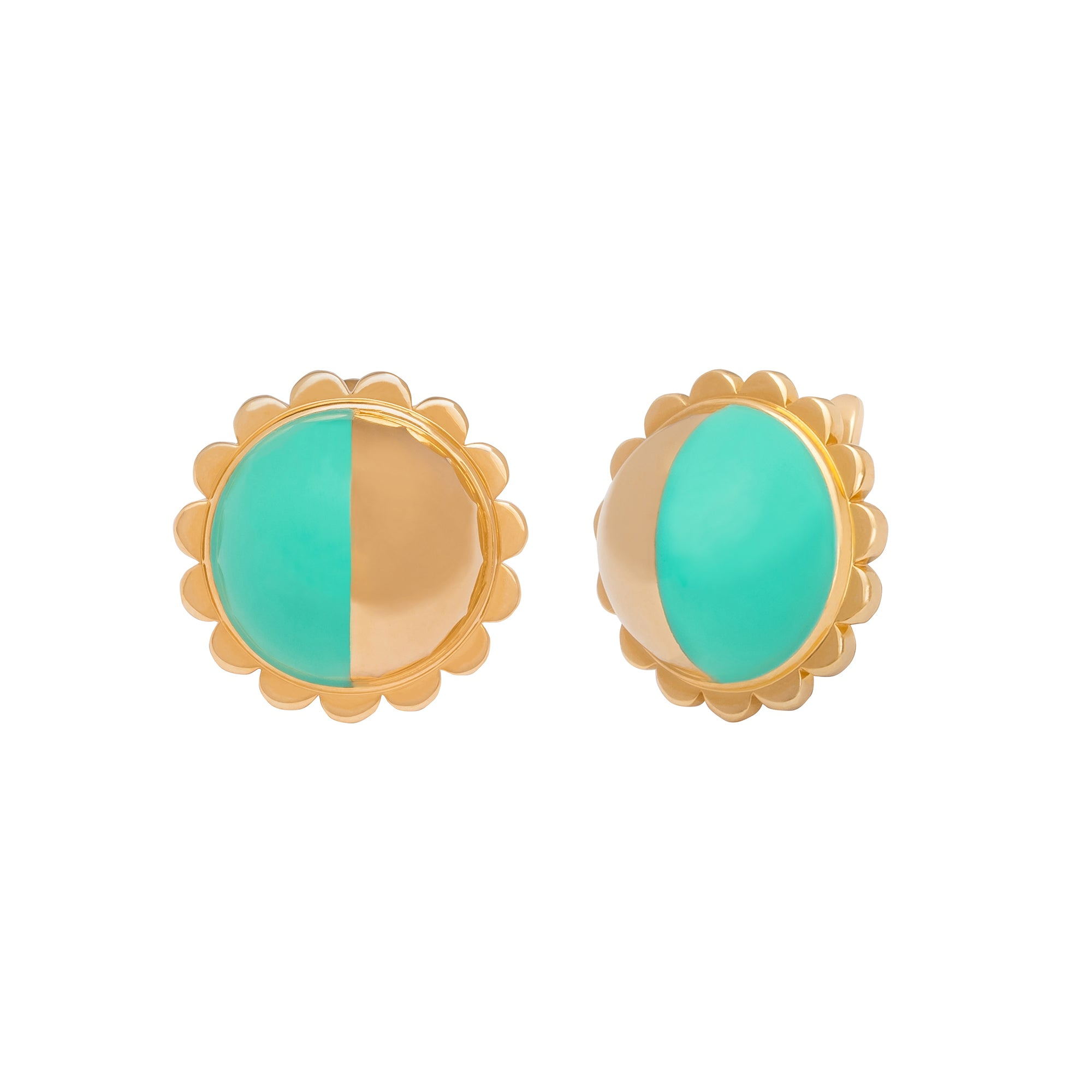Gold & Mint Enamel Earrings - Suel - Earrings | Broken English Jewelry