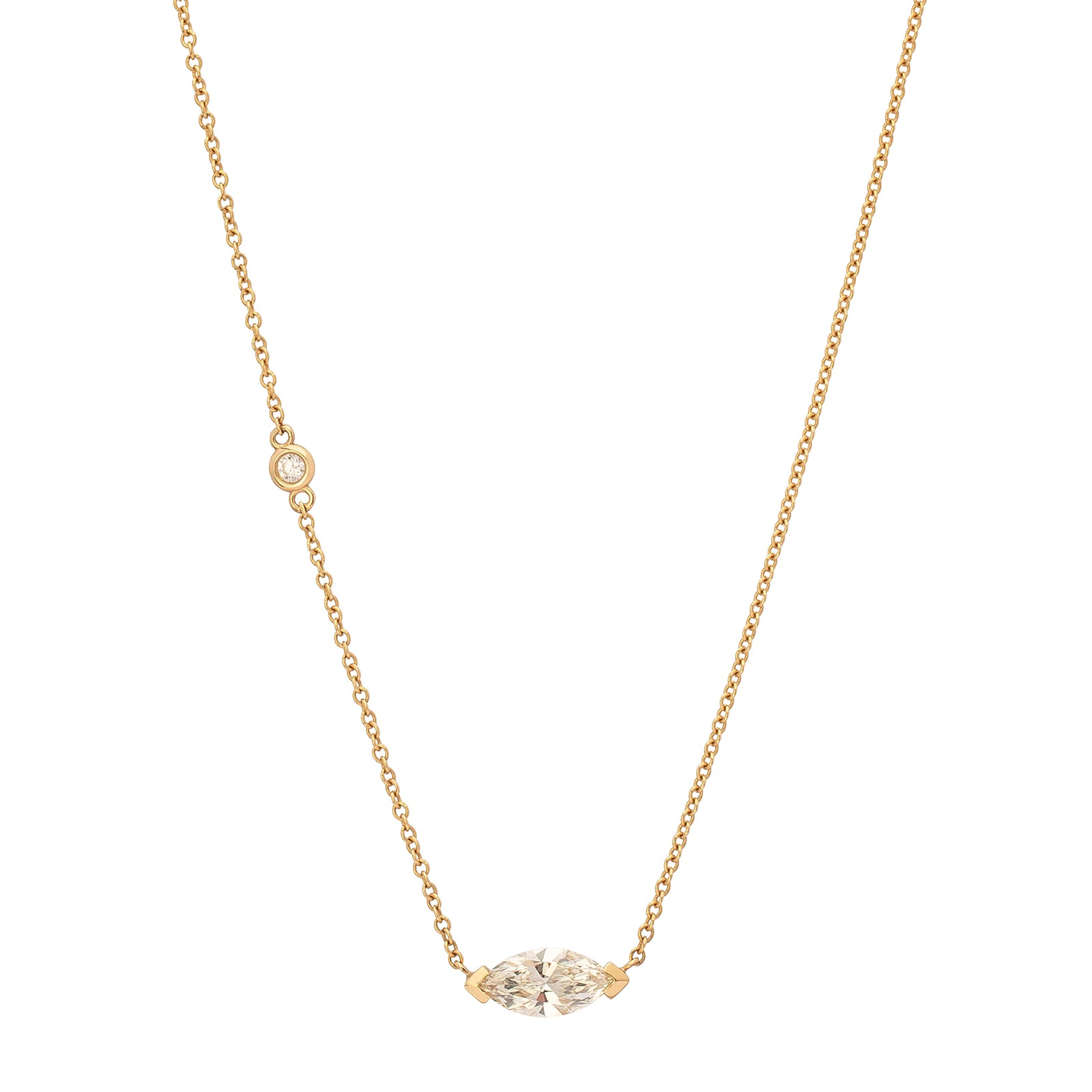 Shay Solitaire Marquise Pendant Necklace - Necklaces - Broken English Jewelry