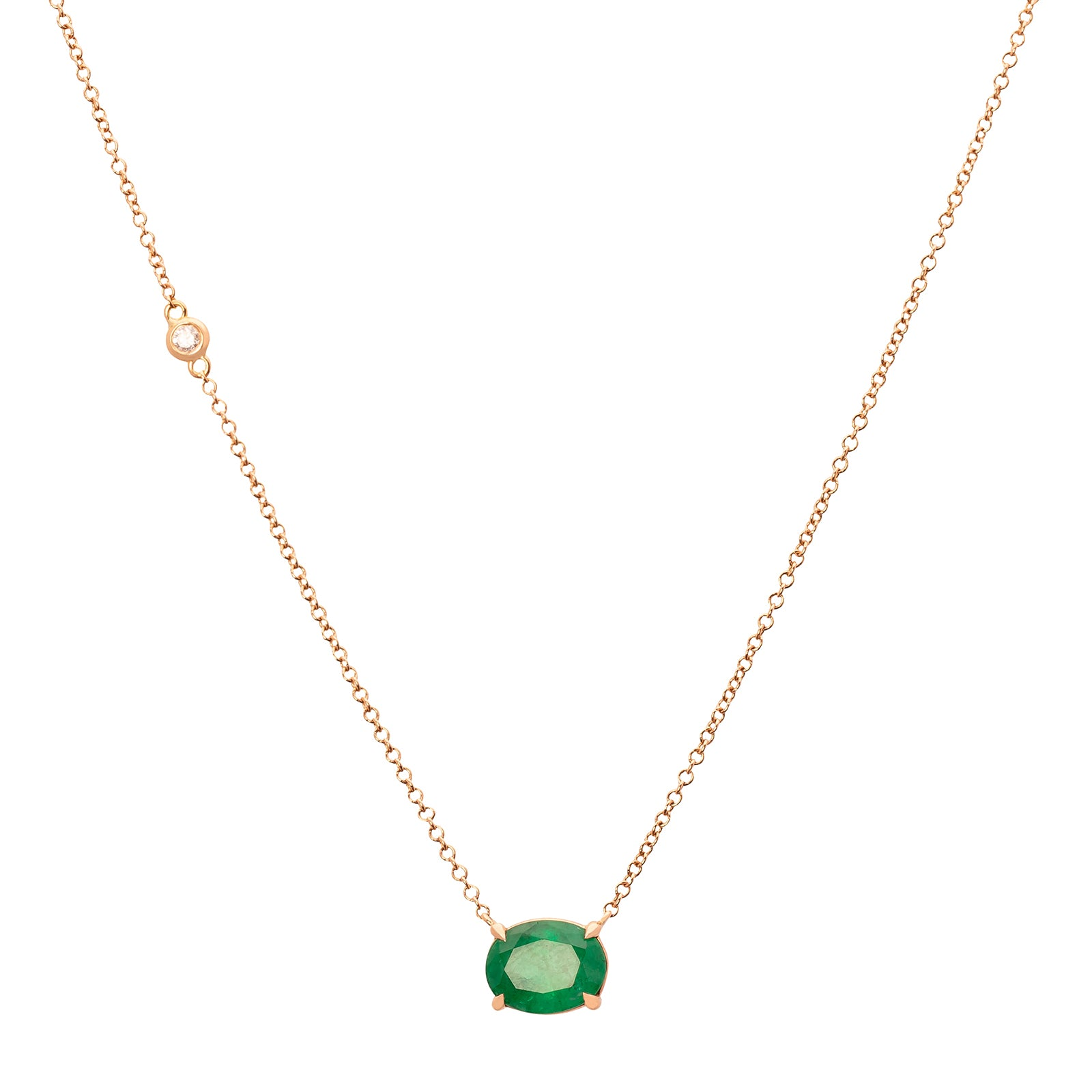 Shay Oval Emerald Pendant Necklace - Rose Gold - Necklaces - Broken English Jewelry