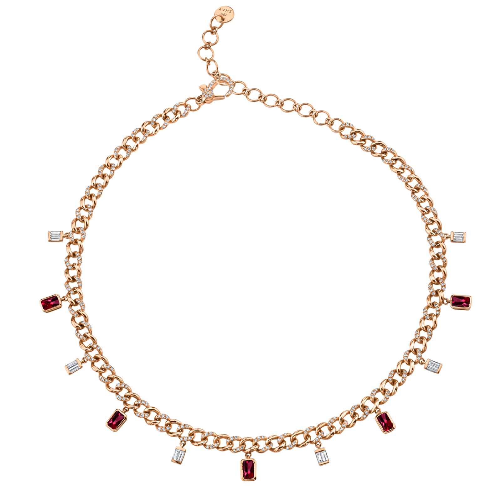 Shay Mini Alternating Diamond & Ruby Link Necklace - Rose Gold - Necklaces - Broken English Jewelry