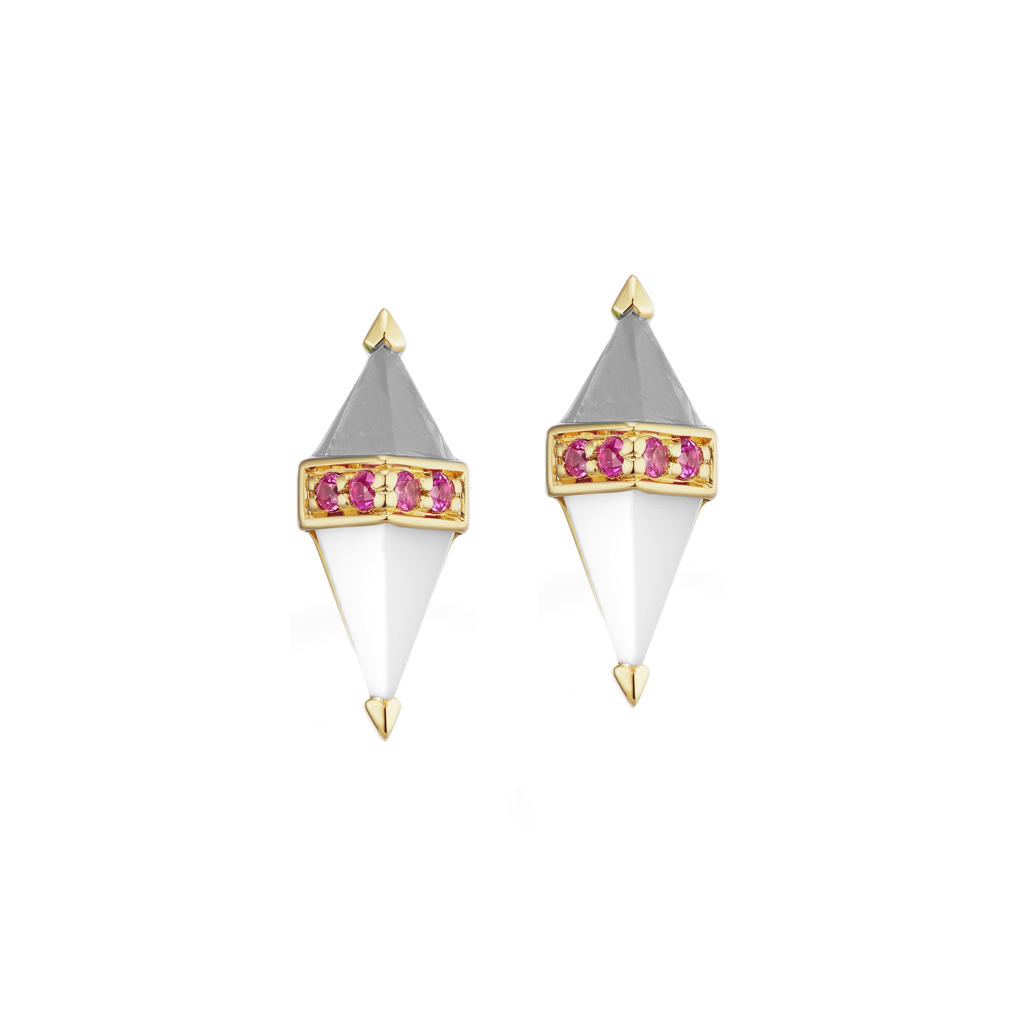 White Pietra Studs by Sorellina for Broken English Jewelry