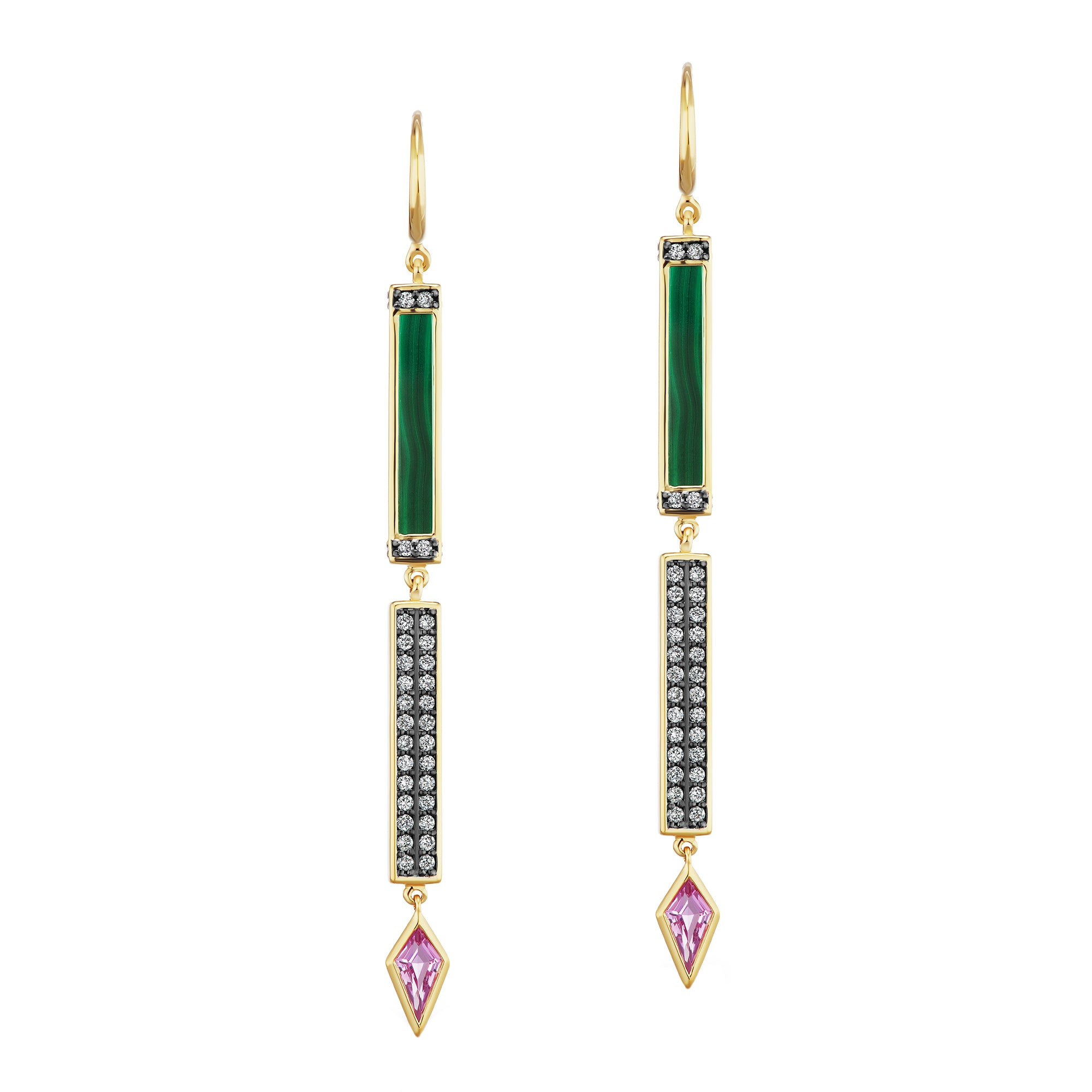 Quartz and Diamond Bar Stick Earring