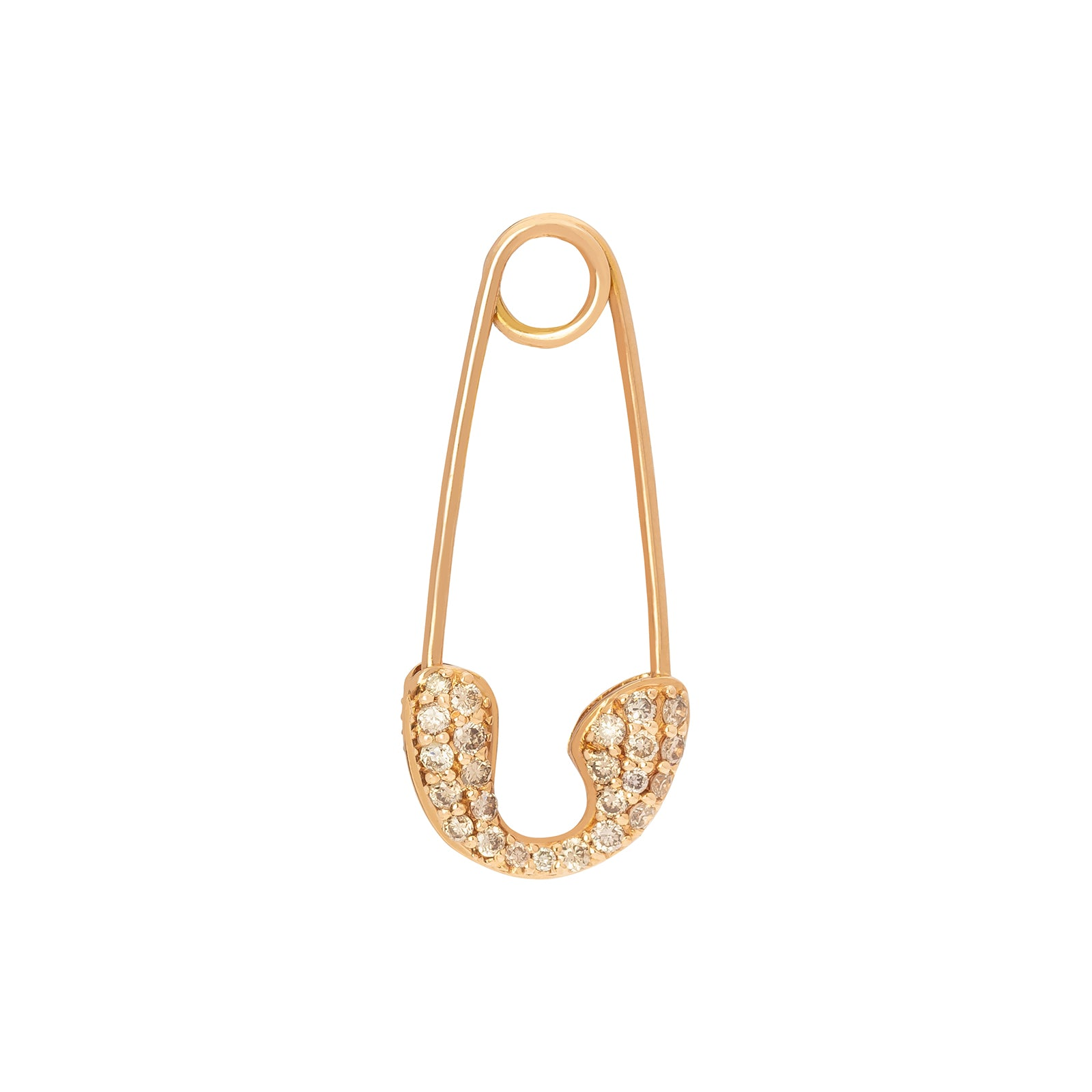 Rosa de la Cruz Safety Pin White Diamond Earring - Rose Gold - Earrings - Broken English Jewelry