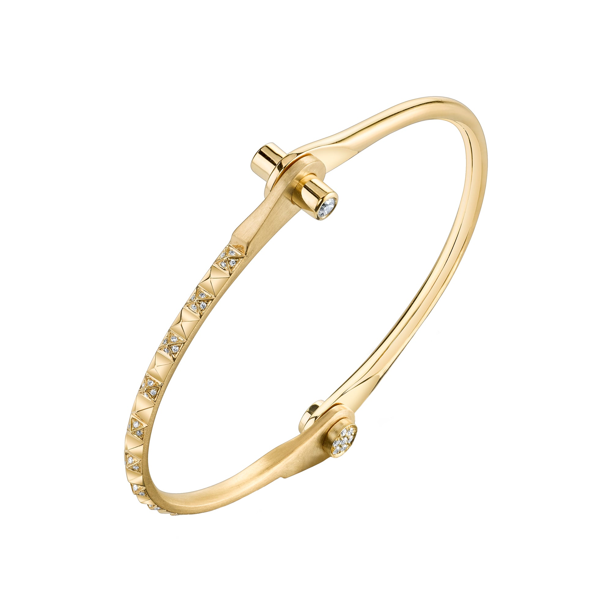 Yellow Gold Skinny Pyramid Handcuff - Borgioni - Bracelets | Broken English Jewelry