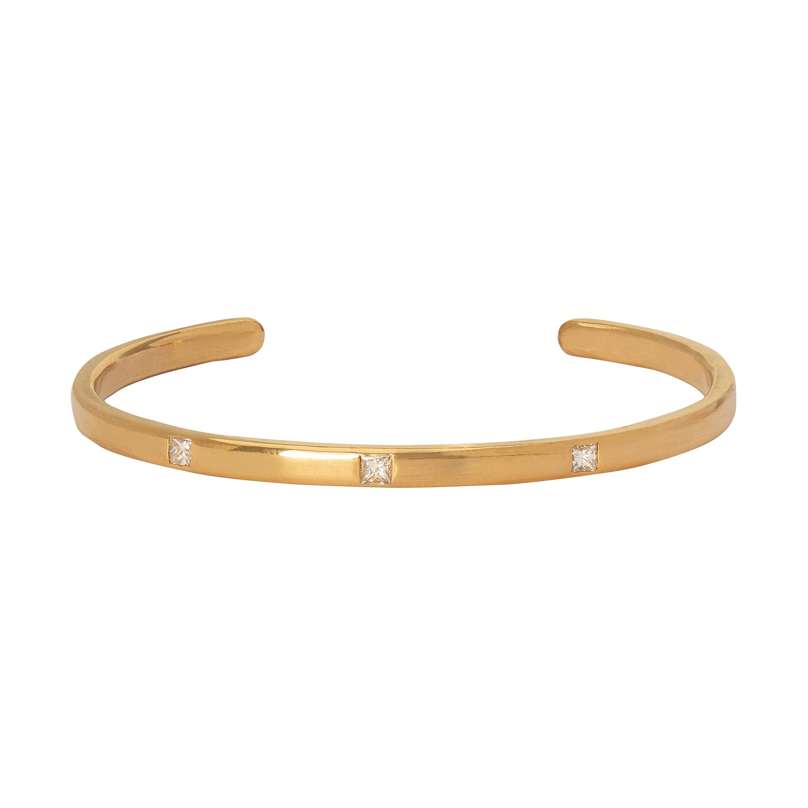 Loriann Stevenson Gold Polished Cuff - Five Princess Diamonds - Bracelets - Broken English Jewelry