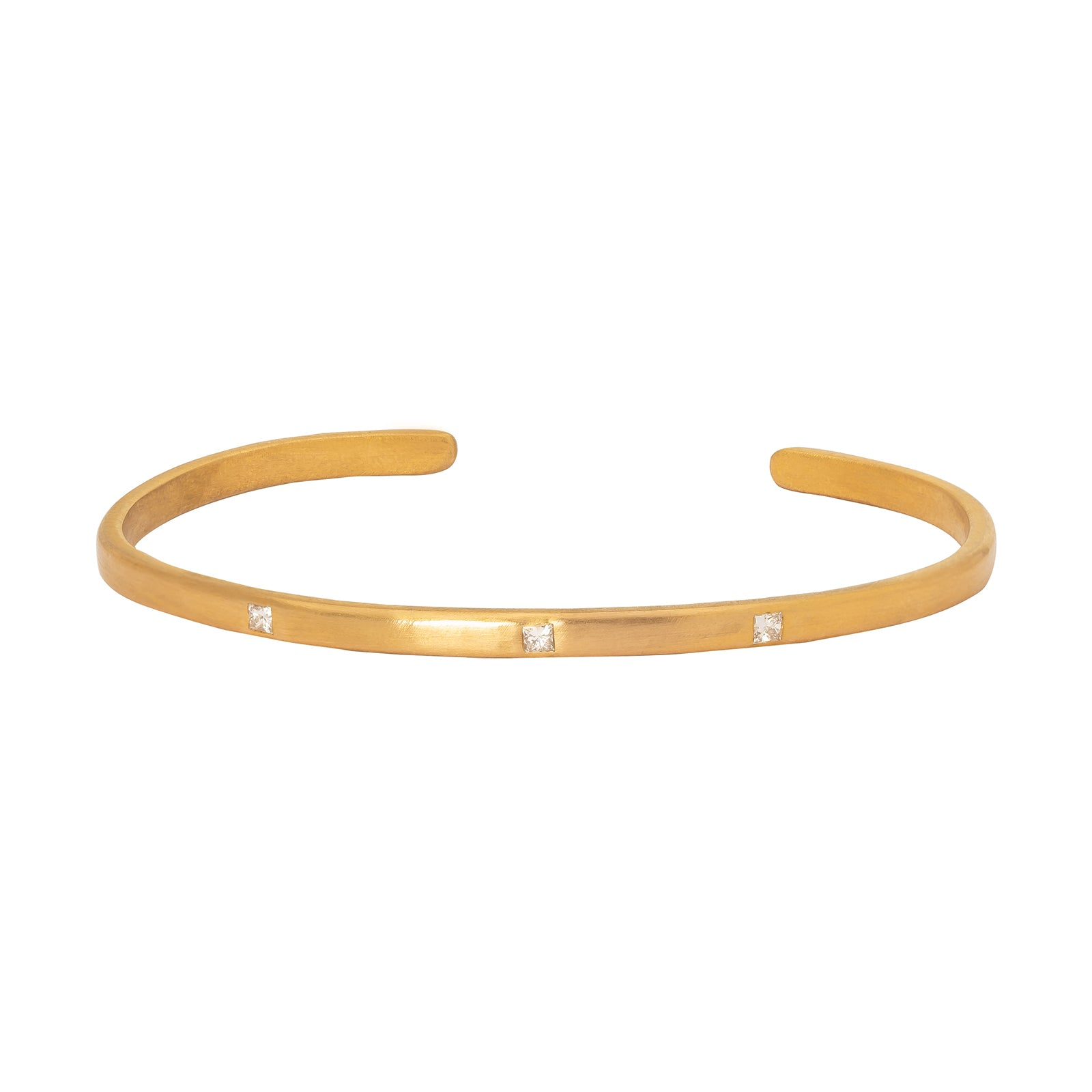 Loriann Stevenson Gold Matte Cuff - Three Princess Diamonds - Bracelets - Broken English Jewelry