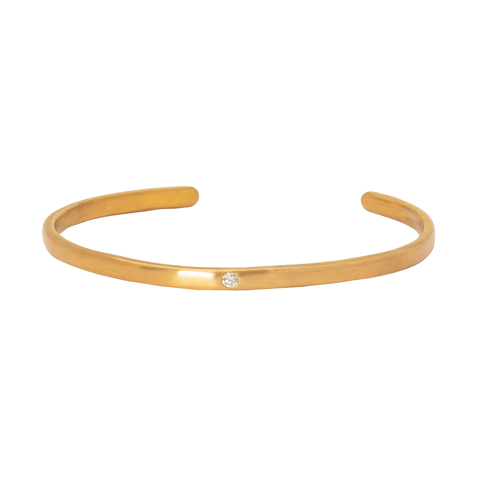 Loriann Stevenson Gold Matte Cuff - Round & Princess Diamonds - Bracelets - Broken English Jewelry