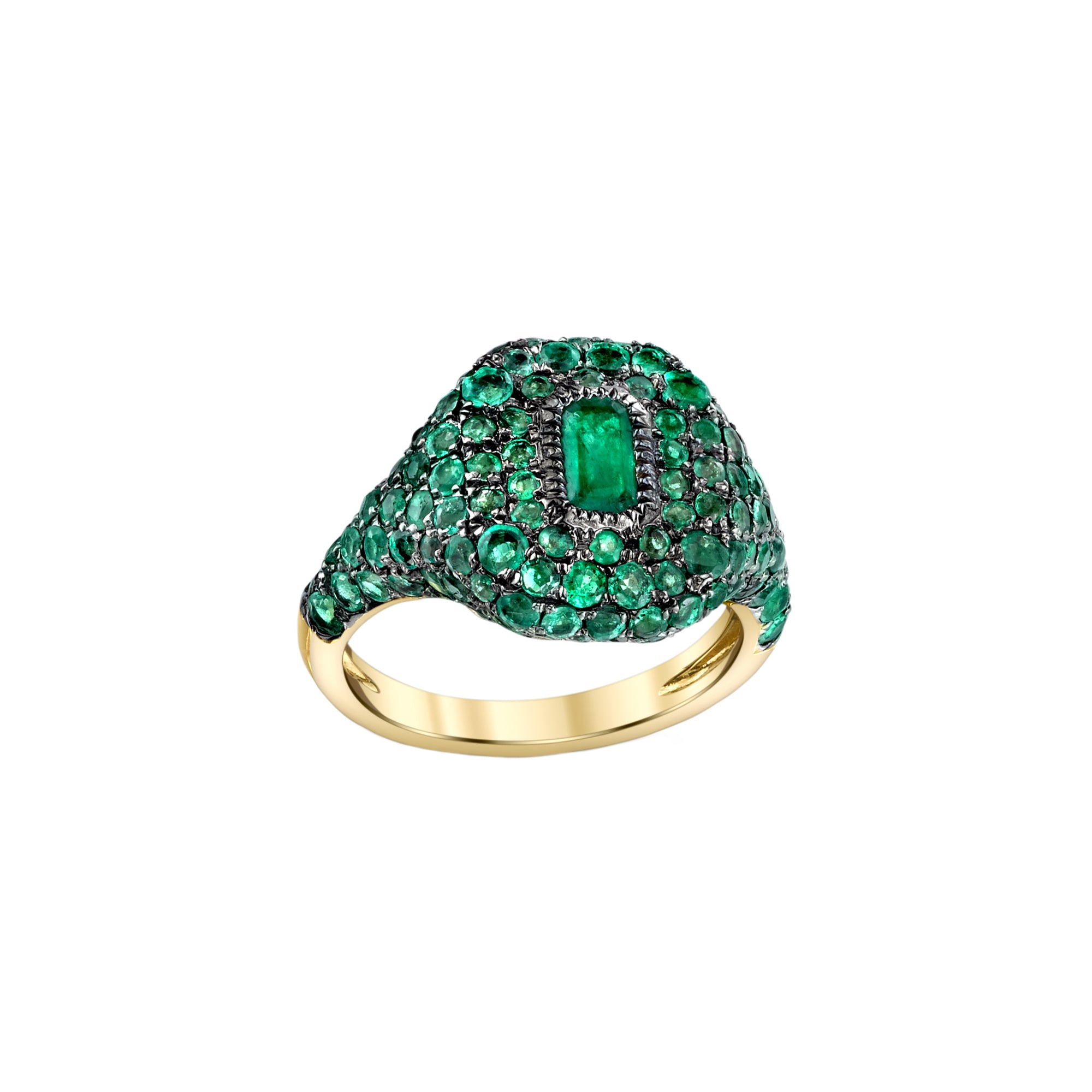 Shay Pave Baguette Emerald Pinky Ring - Gold - Rings - Broken English Jewelry