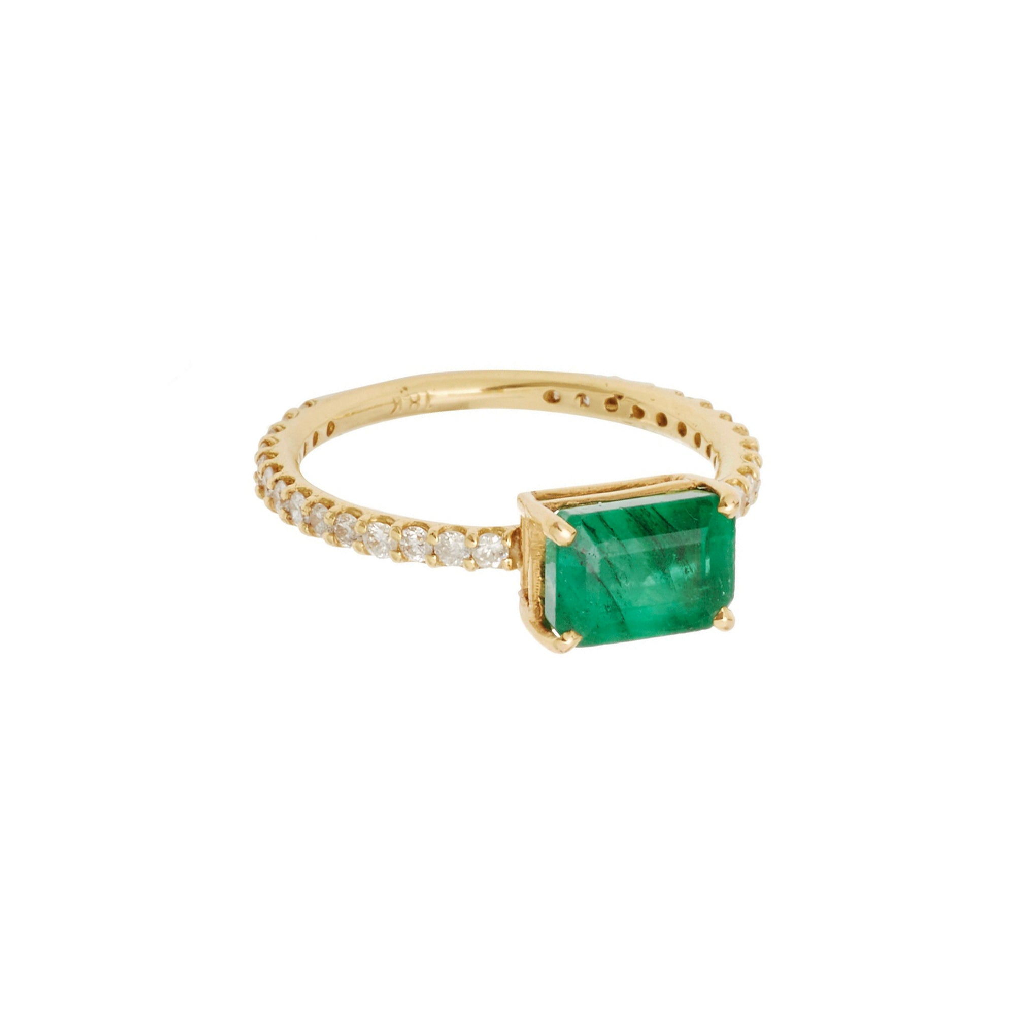 Shay Emerald Solitaire Ring - Gold - Rings - Broken English Jewelry