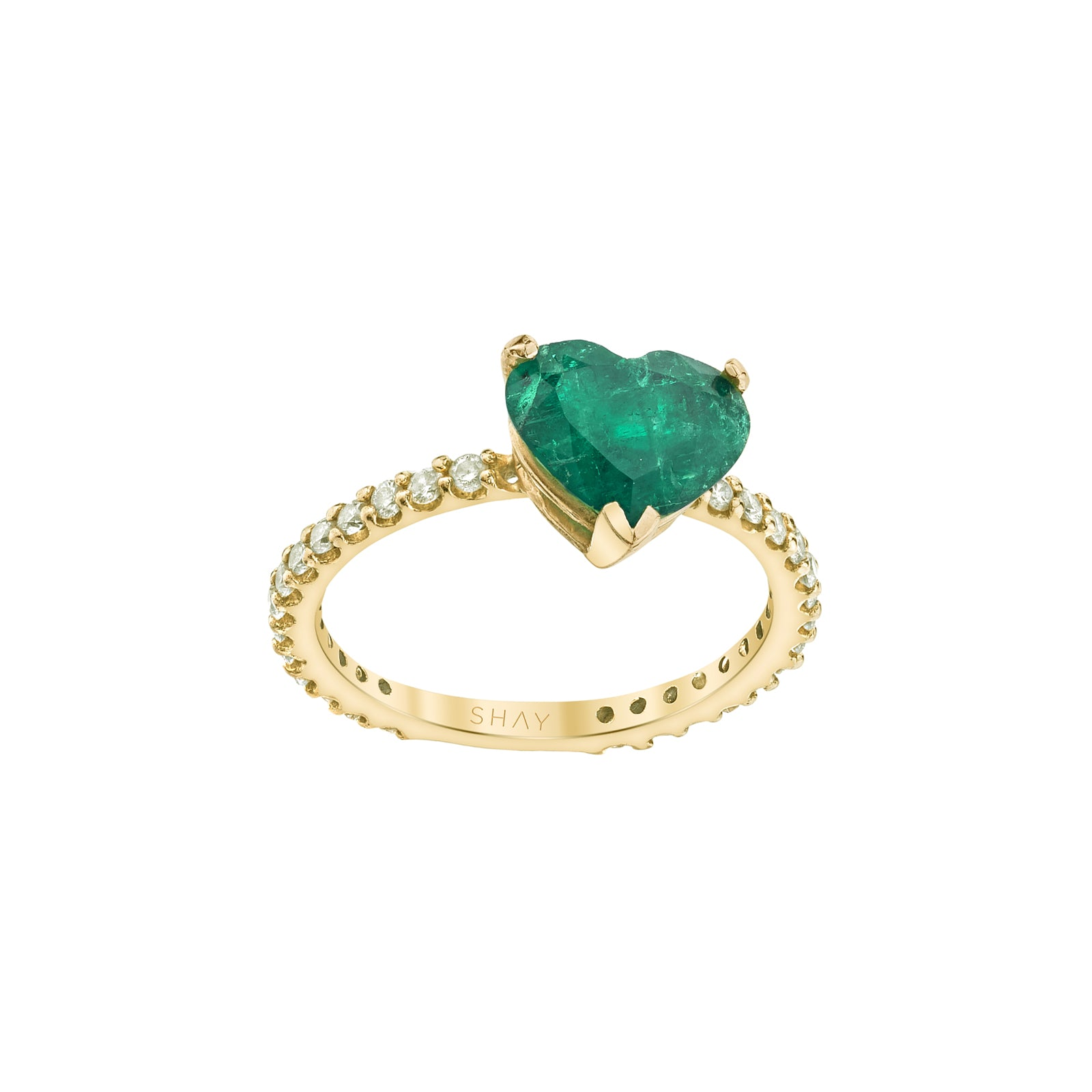 Shay Heart Pinky Ring - Emerald - Rings - Broken English Jewelry