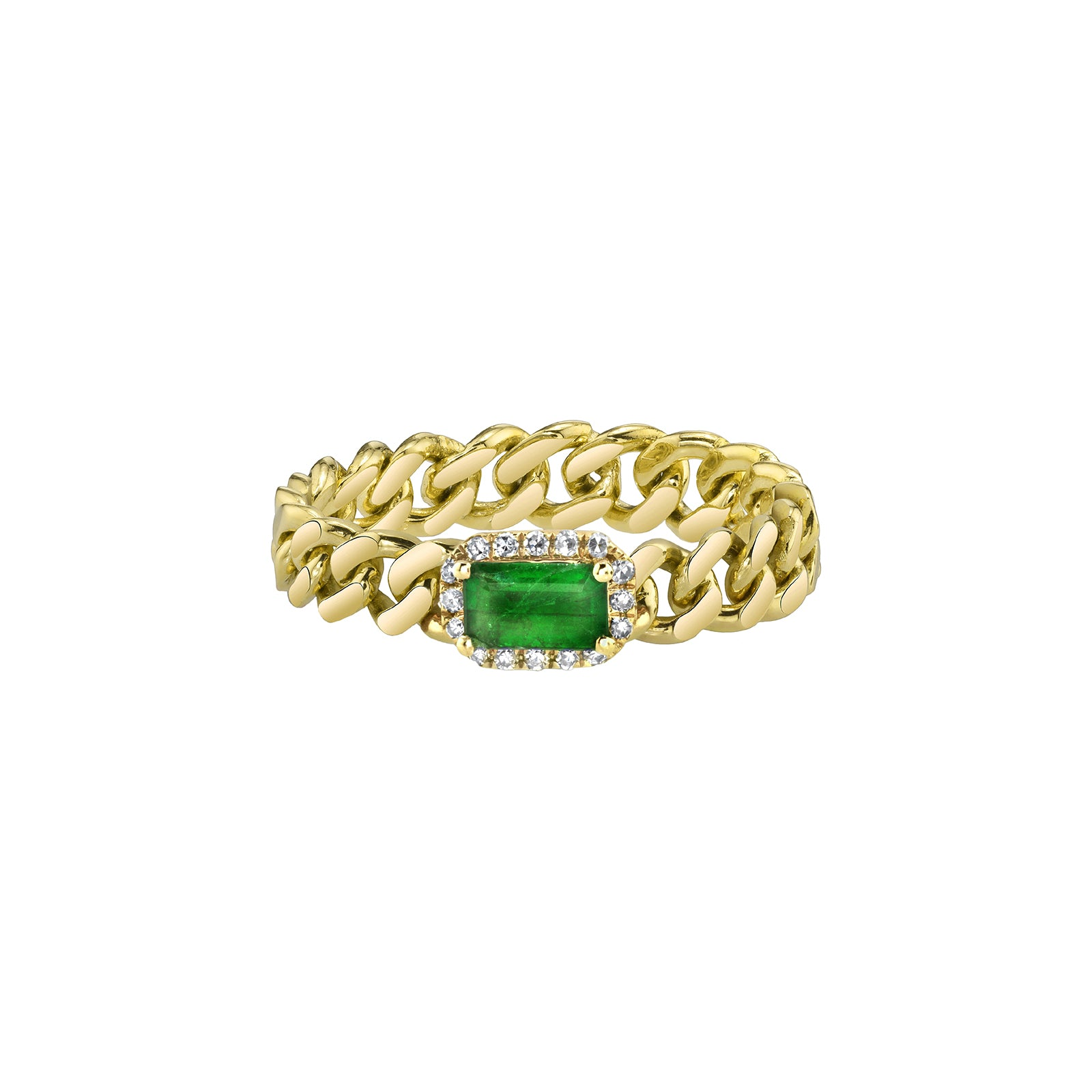 Shay Rectangle Emerald Baby Link Ring - Yellow Gold - Rings - Broken English Jewelry