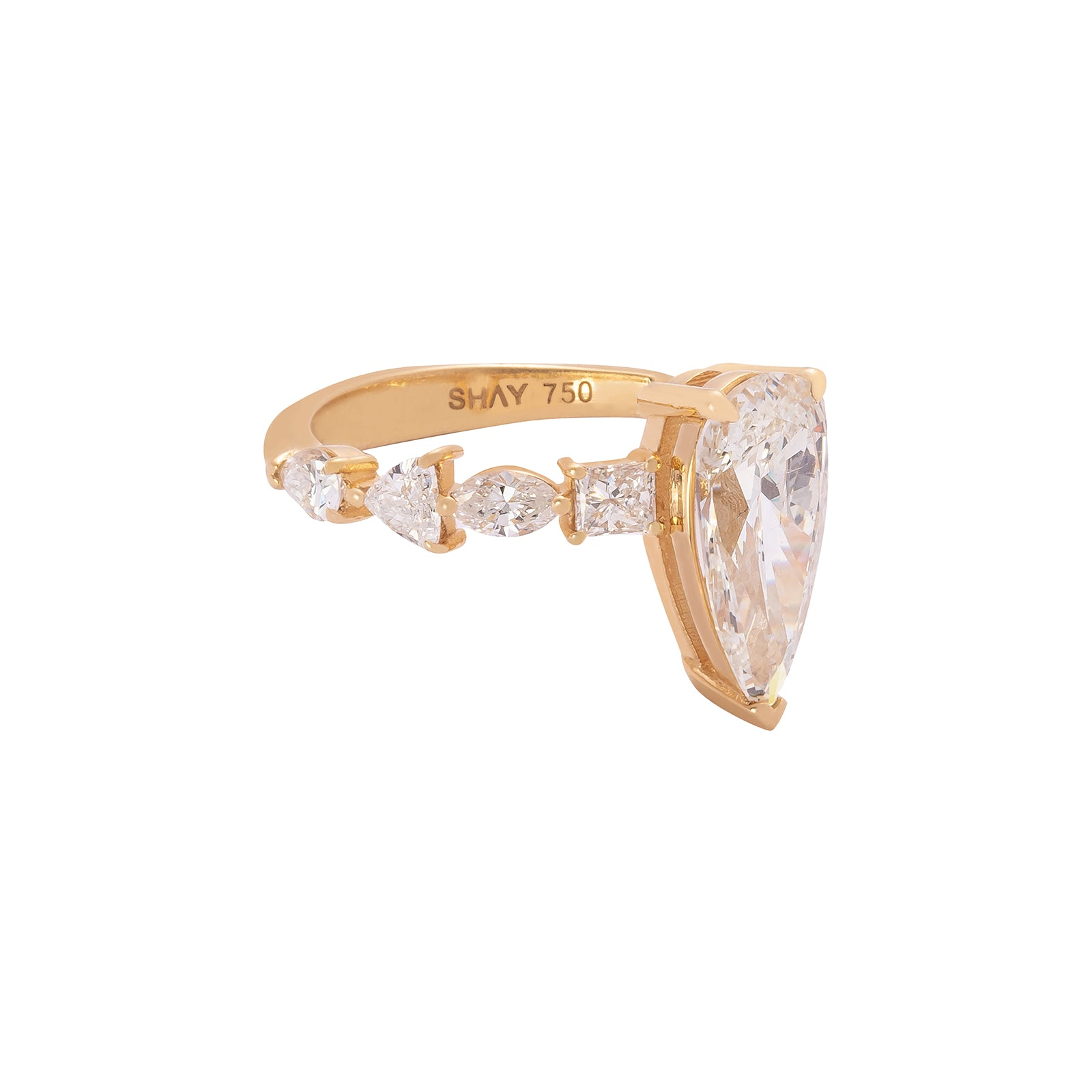 Shay Elongated Pear Diamond Ring - Rings - Broken English Jewelry