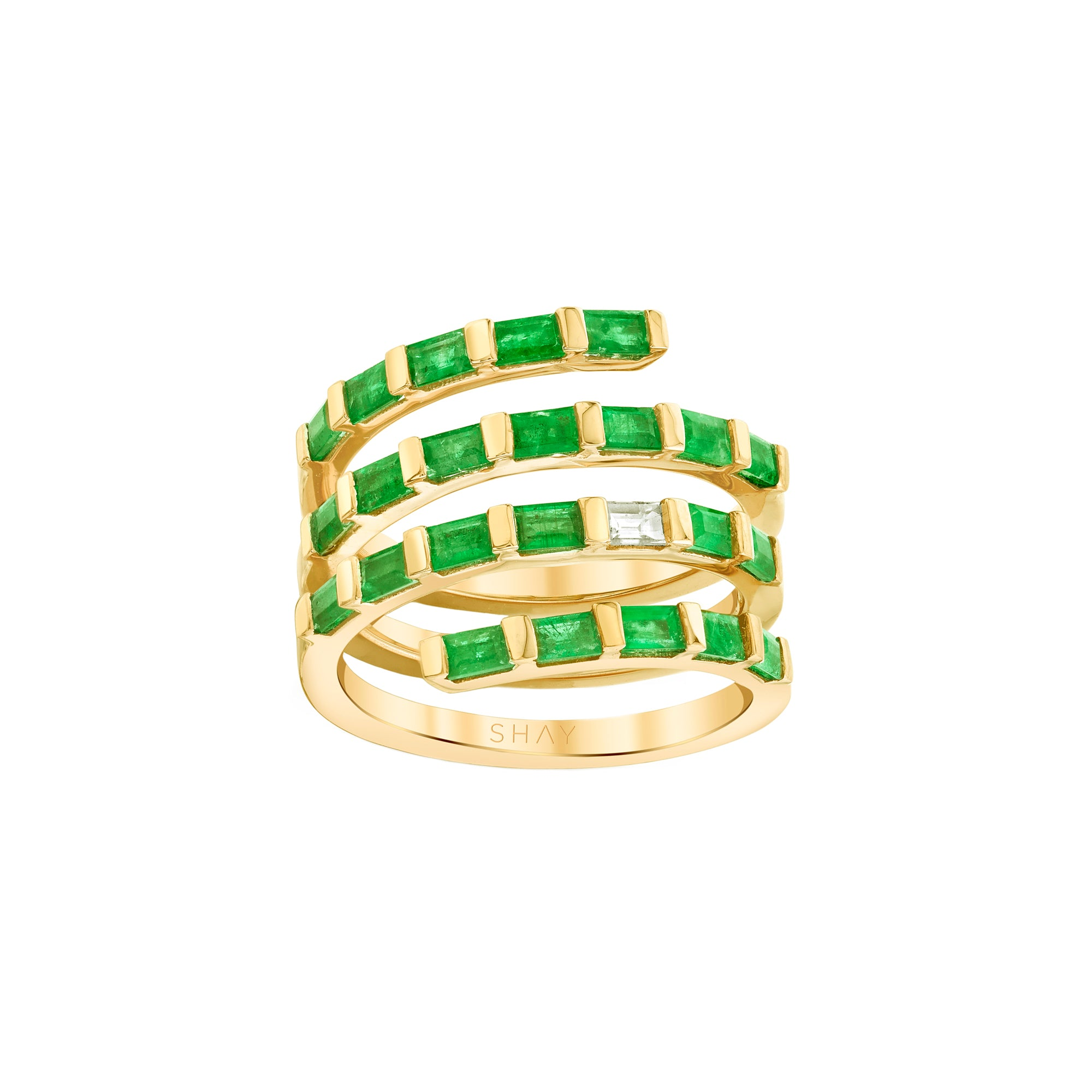 Shay Emerald & Diamond Quad Spiral Ring - Gold - Rings - Broken English Jewelry