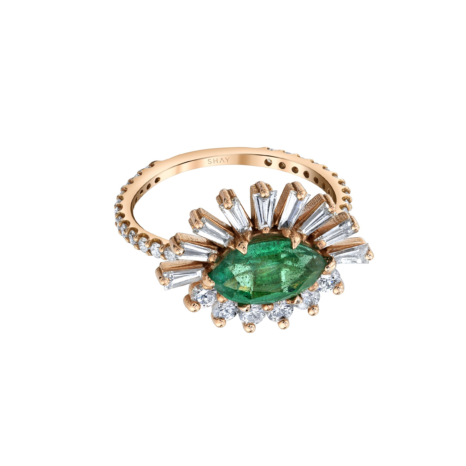 Shay Evil Eye Emerald & Diamond Ring - Rose Gold - Rings - Broken English Jewelry