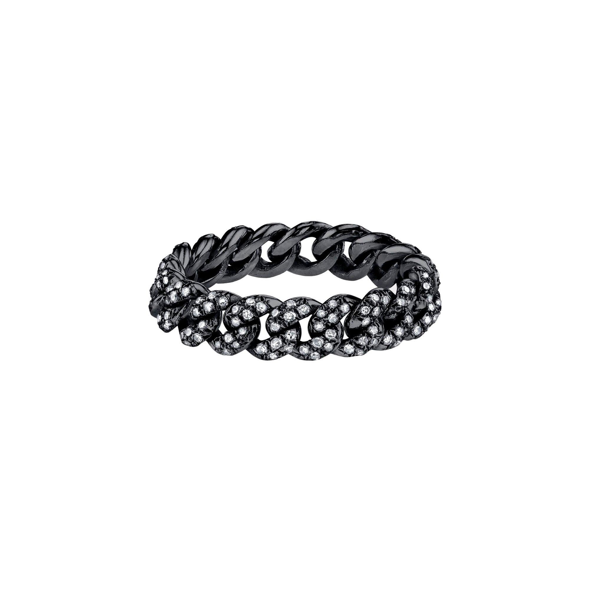 Shay Mini Pave Link Ring - Black Gold - Rings - Broken English Jewelry