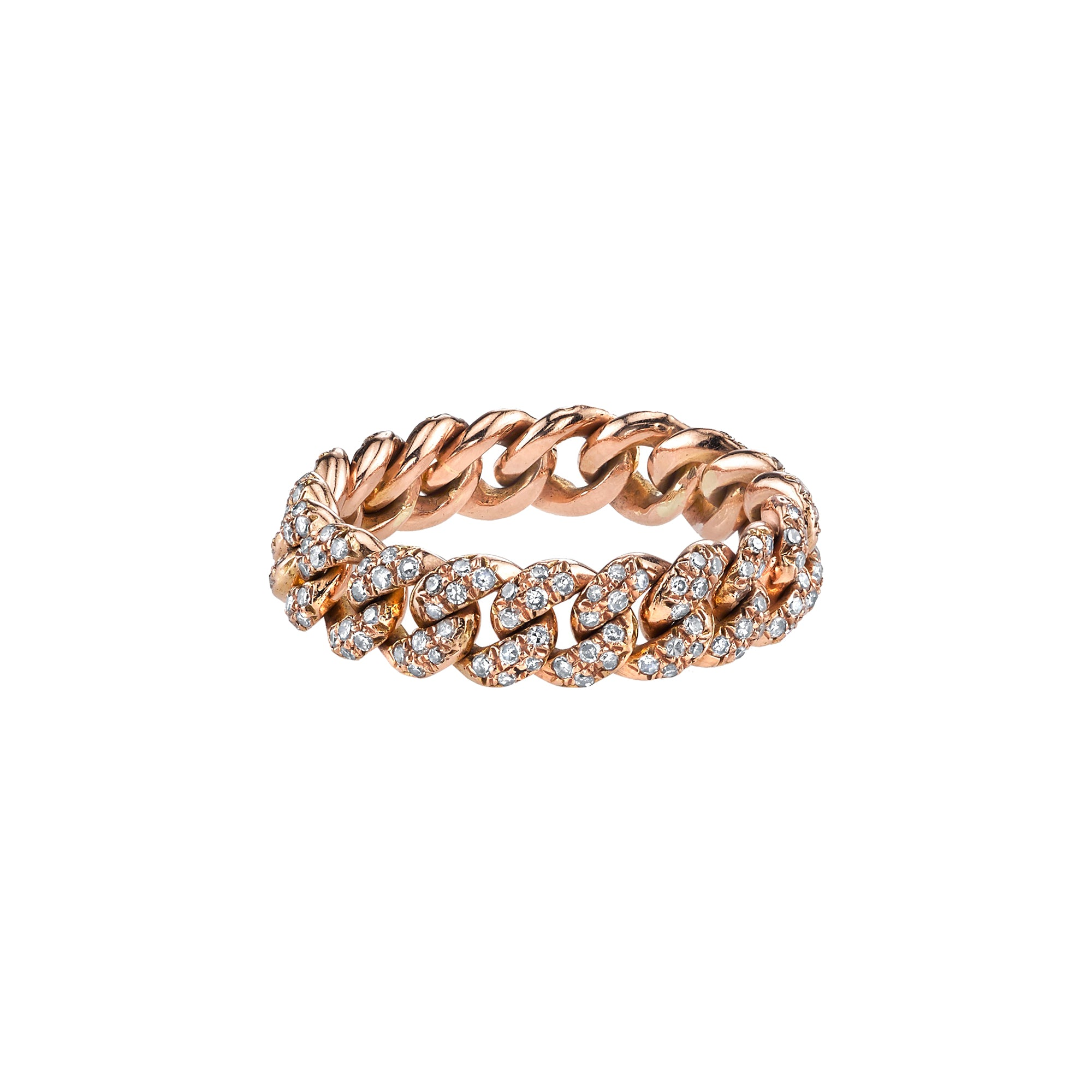 Shay Mini Pave Link Ring - Rose Gold - Rings - Broken English Jewelry