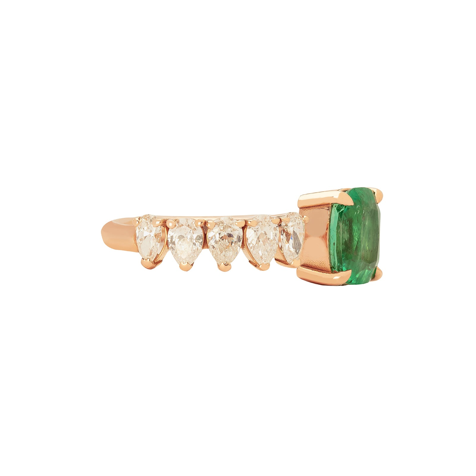 Shay Floating Oval Emerald Ring - Rose Gold - Rings - Broken English Jewelry