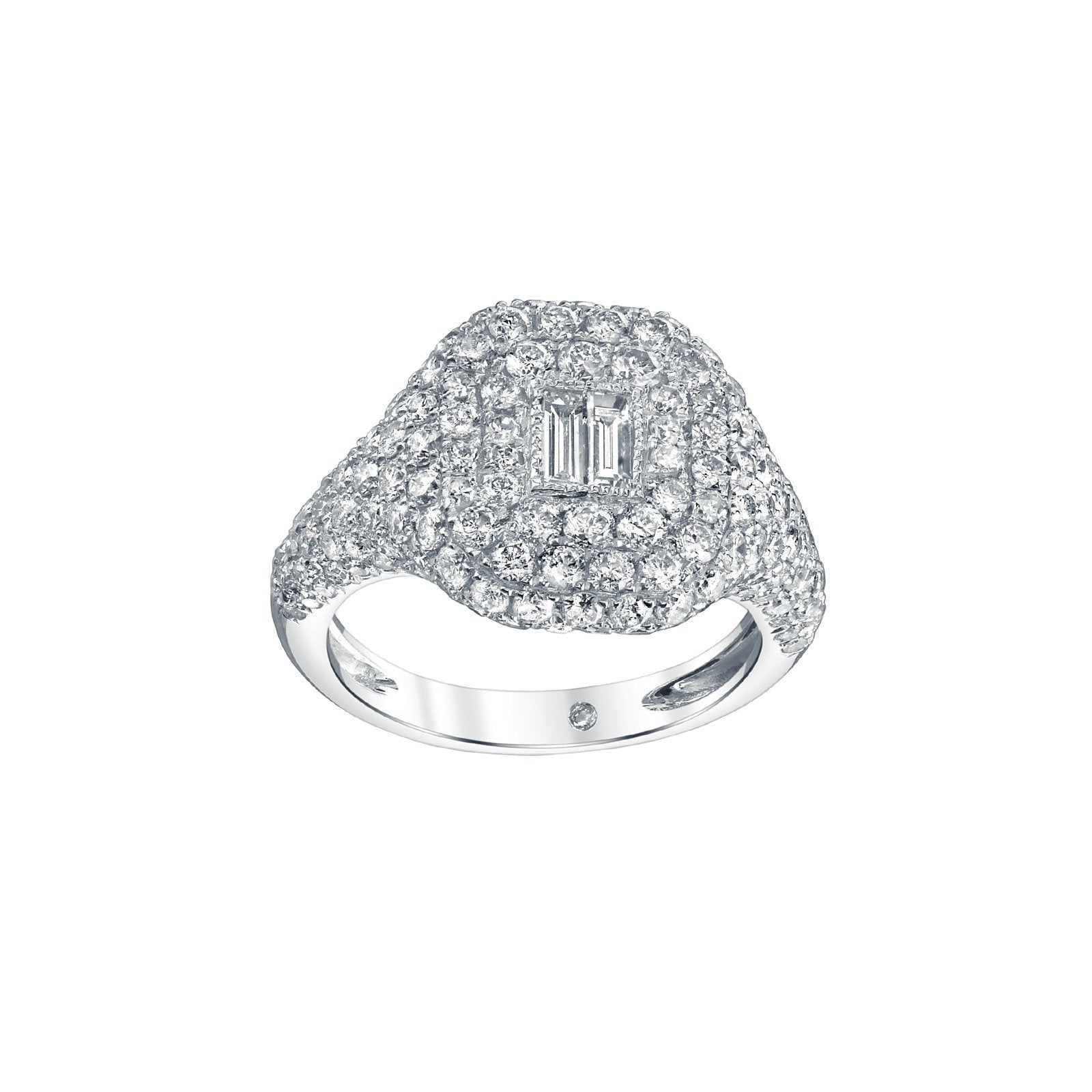 Shay Pave Baguette Diamond Pinky Ring - White Gold - Rings - Broken English Jewelry