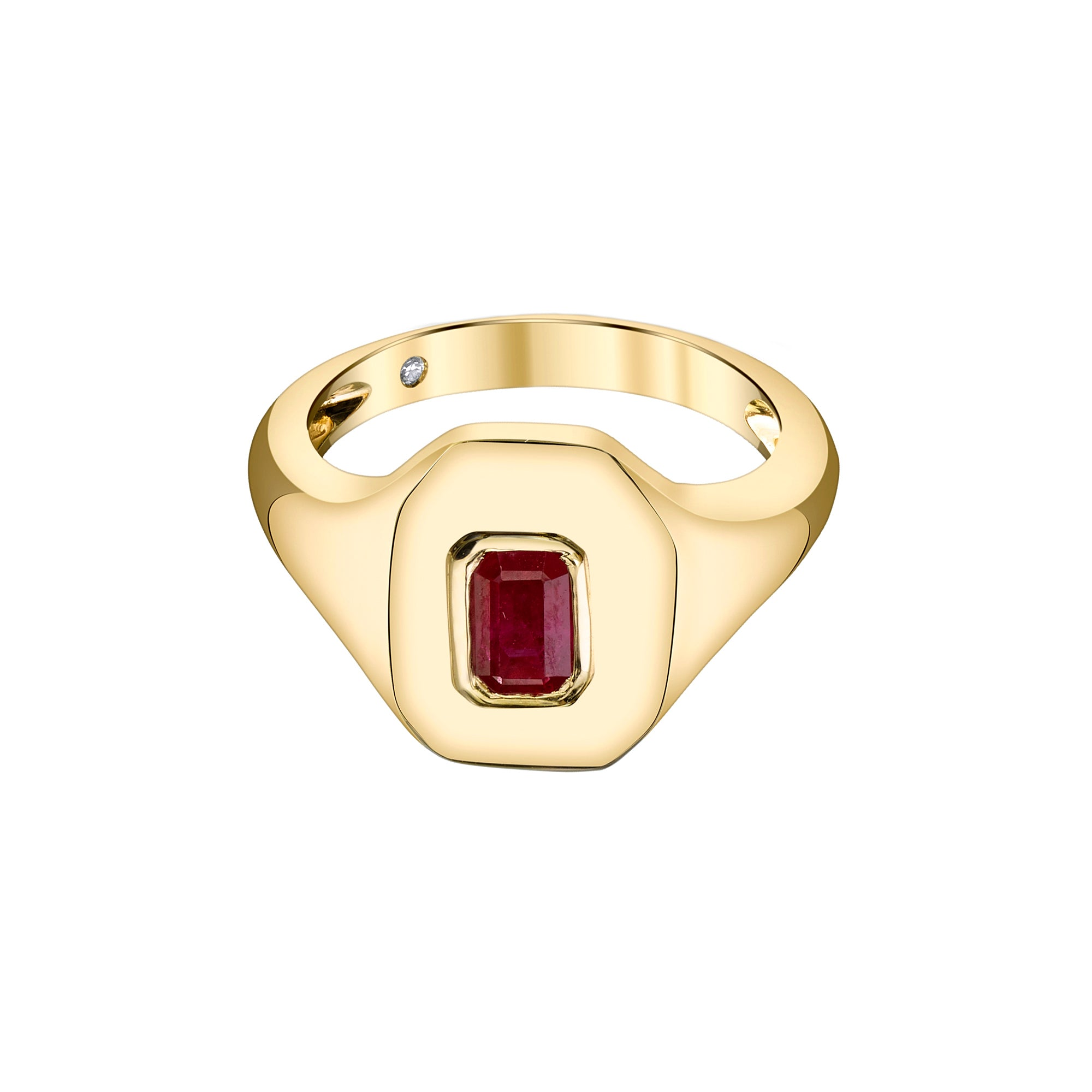 Shay Baguette Ruby Pinky Ring - Gold - Rings - Broken English Jewelry