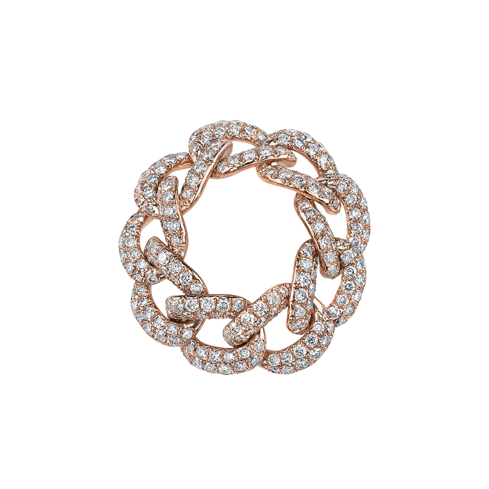 Shay Essential Pave Link Ring - Rose Gold - Rings - Broken English Jewelry