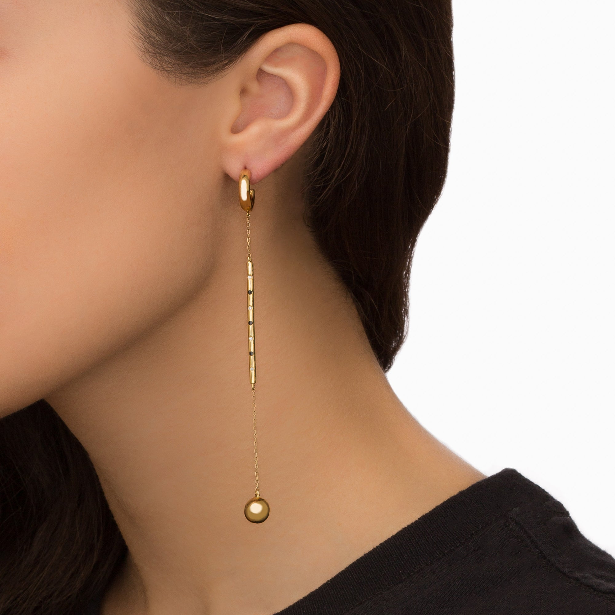 Gold Long Drop Hoop - Suel - Earrings | Broken English Jewelry