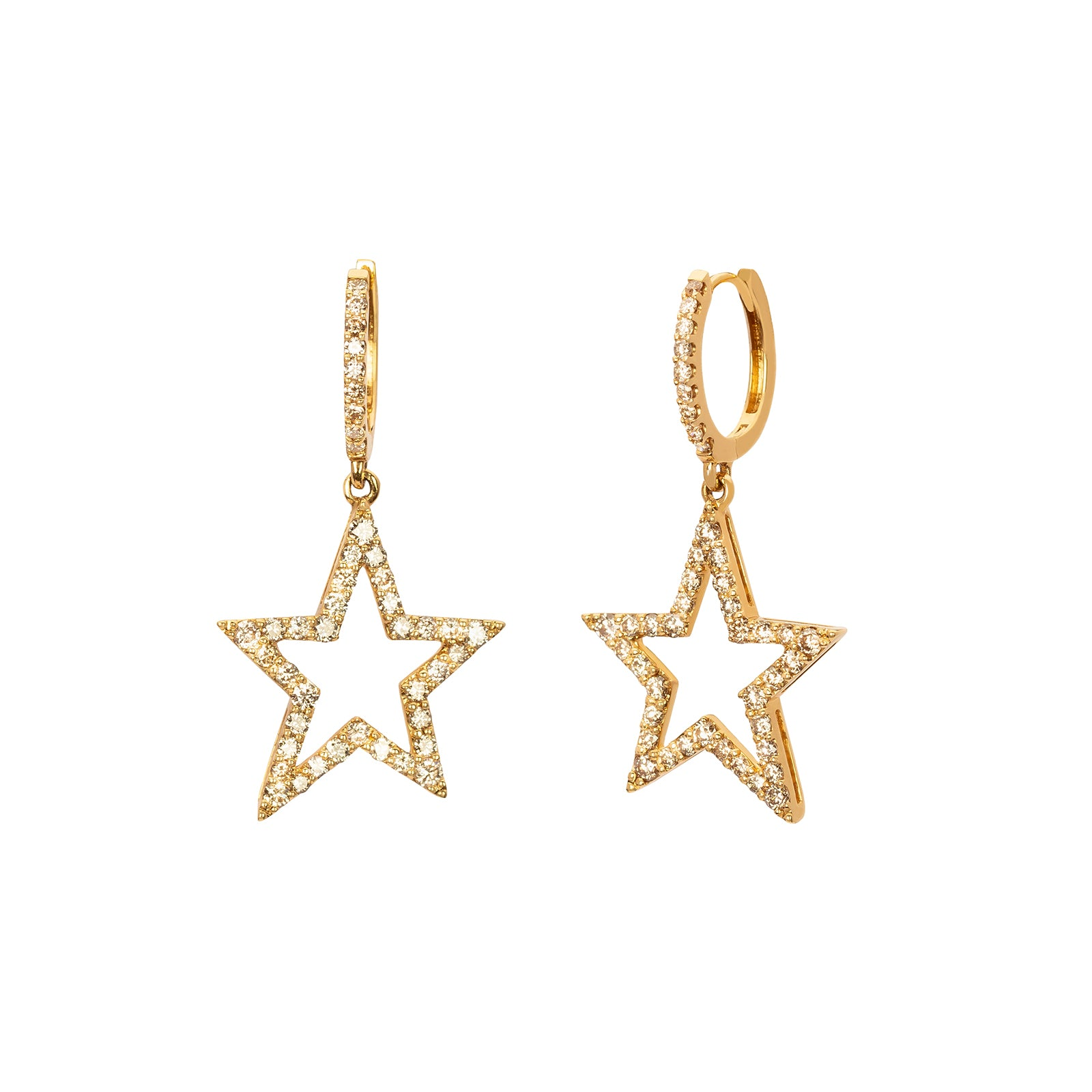 Rosa de la Cruz Star Earrings - Yellow Gold - Earrings - Broken English Jewelry