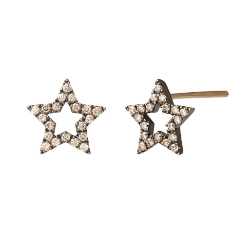 Rhodium Star Studs - Rosa de la Cruz - Earrings | Broken English Jewelry