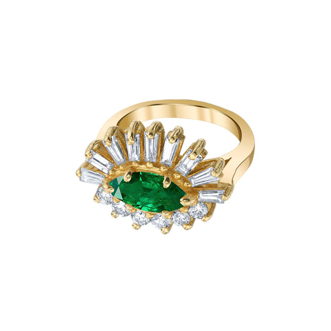 Emerald & Diamond Evil Eye Pinky Ring - Shay - Rings | Broken English Jewelry