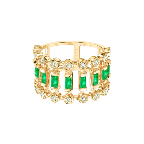 Emerald & Diamond Dot-Dash Ring - Shay - Rings | Broken English Jewelry