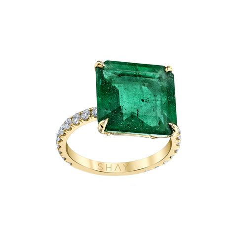 Solitaire Emerald Ring - Shay - Rings | Broken English Jewelry