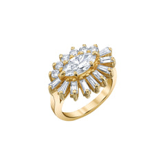 Gold White Diamond Evil Eye Ring by Shay for Broken English Jewlery