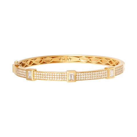 Triple Bezel Baguette Bangle - Shay - Bracelets | Broken English Jewelry
