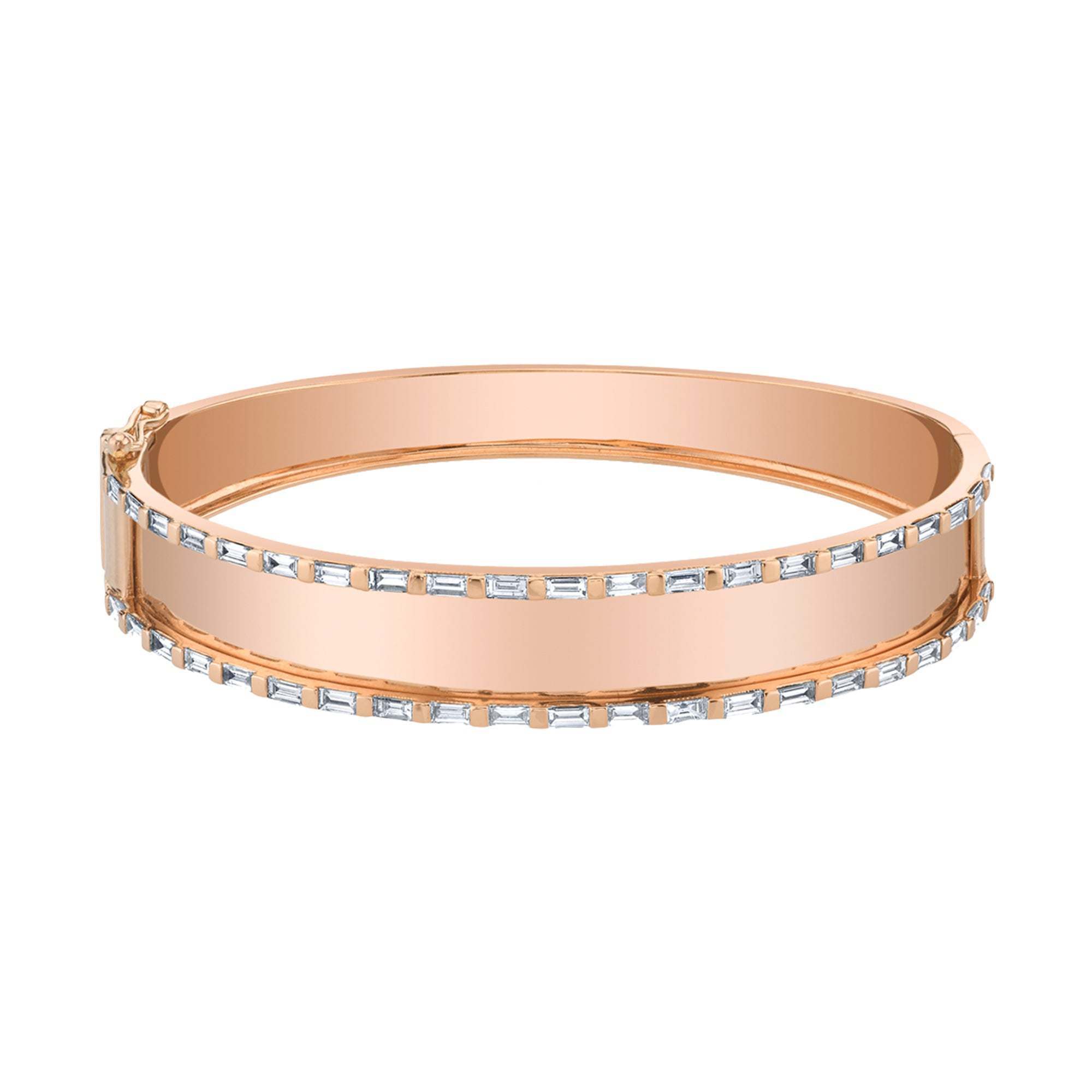 Gold White Diamond Essential Baguette Nameplate Bangle by Shay for Broken English Jewlery
