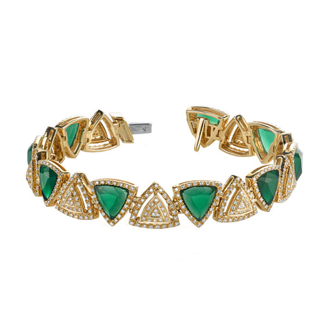 Diamond & Green Agate Bracelet by Shay for Broken English Jewelry