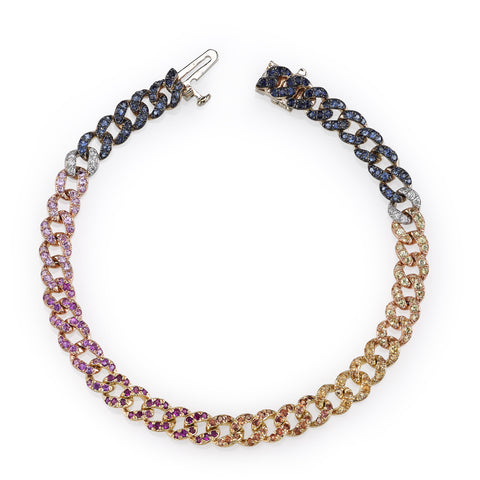 Rainbow Mini Pave Link Bracelet by Shay for Broken English Jewelry