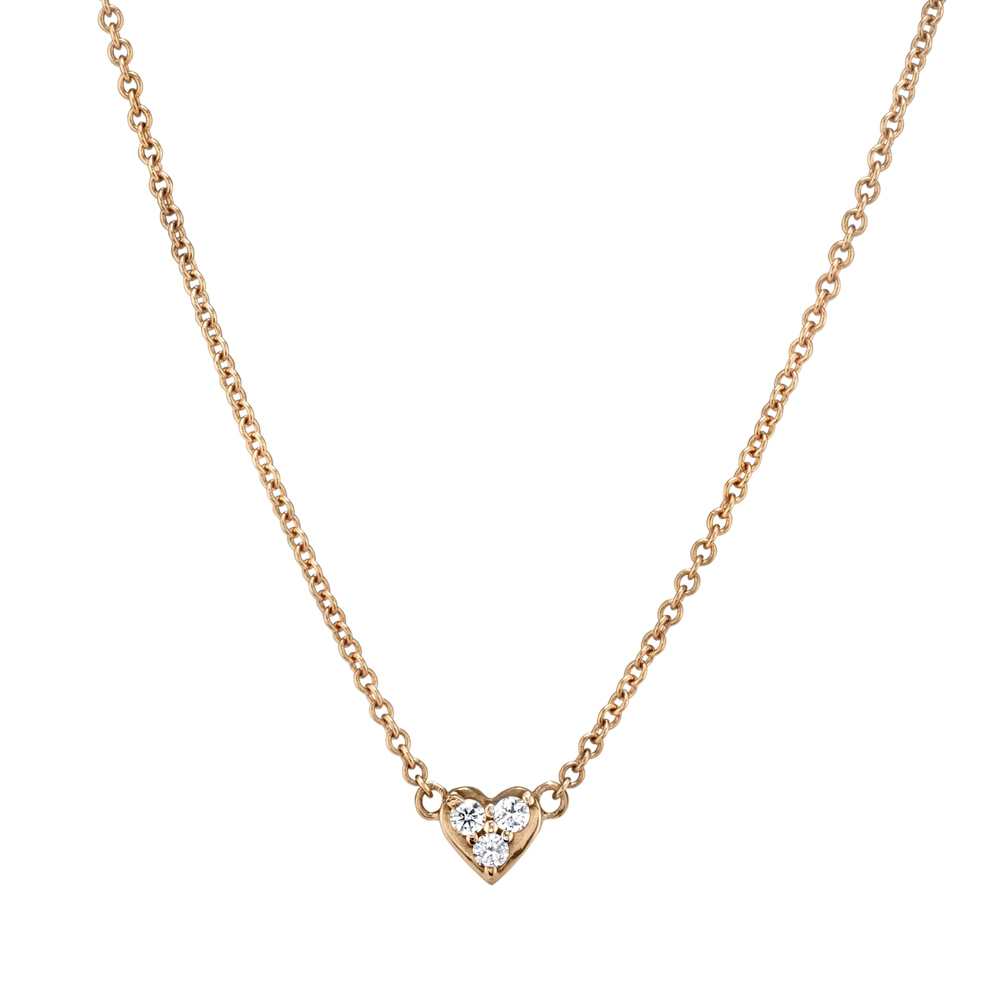 Baby Tri-Diamond Heart Necklace by Shay for Broken English Jewelry