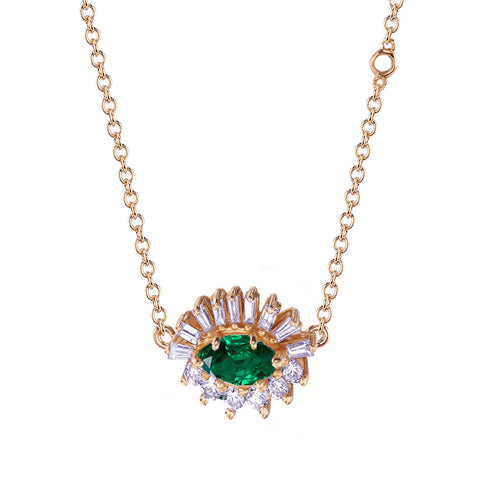 Emerald & Diamond Evil Eye Necklace - Shay - Necklaces | Broken English Jewelry