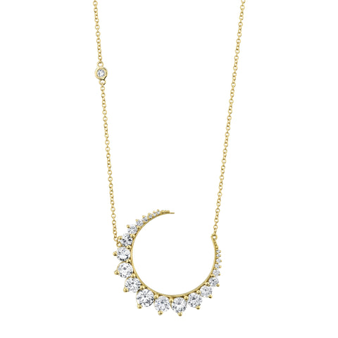Large Diamond Moon Necklace - Shay - Necklaces | Broken English Jewelry