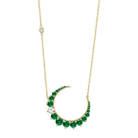 Emerald & Diamond Crescent Necklace - Shay - Necklaces | Broken English Jewelry