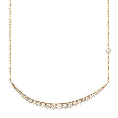 Victorian Horizontal Diamond Moon Necklace - Shay - Necklaces | Broken English Jewelry