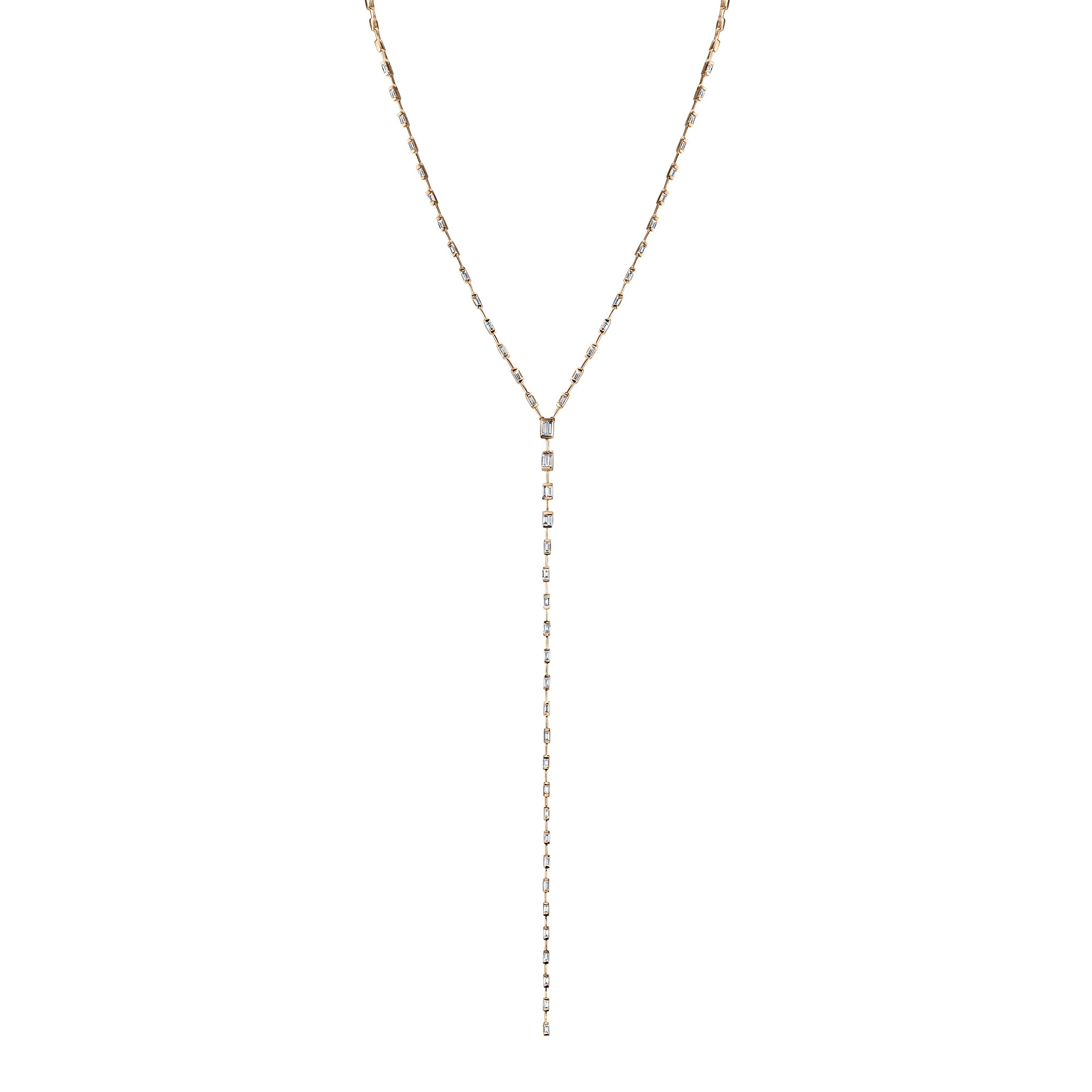 Gold White Diamond Infinity Baguette Y Drop Necklace by Shay for Broken English Jewlery